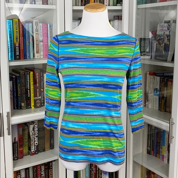 LRL Bright Southwest Print Lace Up 3/4 Sleeve Tee